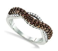 Chocolate Brown & White Diamond Ring .925 Sterling Silver Diamond Band .51ct