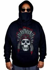 Men's Indian Sugar Skull Mask Hoodie Native American Day of Dead Sweater Jacket