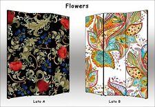 Parete divisoria Fiori BIFACCIALE 3 o 4 ante   Separè Paravento floreale