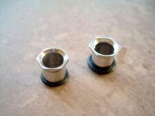 Pair 0g Single Flare Steel Ear Plugs-Gauges-Piercings Bolt End Punk-Goth