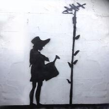 Banksy Stencil XL Girl Watering Aerial Sunflower Life Size Wall Art Stencil
