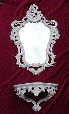 Wall Mirror + Storage Console Set Mirror 50X76 Antique Baroque White Silver 118S