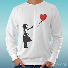 """FELPA UOMO LEGGERA SWEATER BIANCO """" GIRL HEART BAMBINA DRAW """" ROAD TO HAPPINESS"""