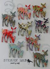 Deer oh deer! brooch reindeer deers doe siamese origami paper oriental wooden