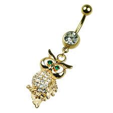 Gold Eule Bauchnabel Piercing mit vielen Kristallen glitzer 8-12mm, vergoldet