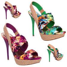 Womens Ladies High Heel Stiletto Chiffon Espadrille Platform Sandals Shoes Size