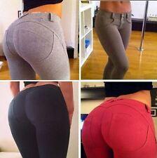 Femme lady leggings slim jeggings pantalon skinny stretch denim jeans de couleur