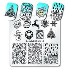 Nail Art Pochoir Stamping Template Plaque Flocons Ongle Acier Stamp Décor Noël
