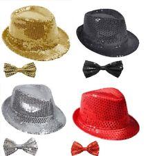 Girls Ladies Women's Men's Sequin Hat & Bow Tie Fancy Dress Hen Night Theme Show