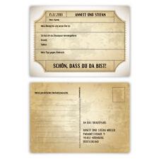 Hochzeitsspiel Fragerunde Postkarte Fragen Antworten - Vintage Brautpaar in Weiß