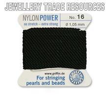 BLACK NYLON POWER SILKY STRING THREAD 1.05mm STRINGING PEARLS & BEADS GRIFFIN 16