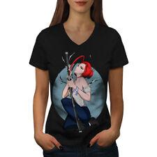 Anime Samurai Girl Women V-Neck T-shirt NEW   Wellcoda