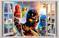 Adesivi Murali Finestra Effetto 3D LEGO NINJAGO decorazioni murali 60
