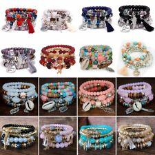 Boho Natural Stone Bead Multilayer Tassel Chain Bangle Charm Women Bracelet Set