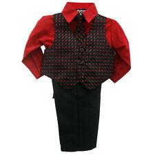 Infantil 4 PIEZAS ROJO Y NEGRO Camiseta Pantalones Set con / roja & A JUEGO