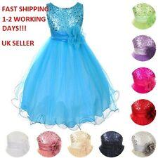 Kids Baby Fleur Filles parti paillettes robe de mariage demoiselle d'honneur robes de princesse