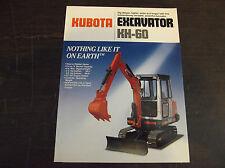 KUBOTA KH-60 COMPACT/MINI EXCAVATOR BROCHURE 1987