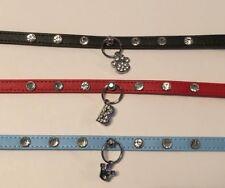Personalised Dog Collar with Hanging Charm - Diamante / Rhinestone / Charm