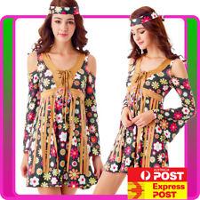 Ladies 60s 70s Retro Hippie Go Go Girl Disco Costume Fancy Dress Hippy 1960s