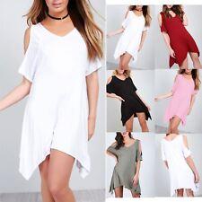 Women Lagenlook T Shirt Dress V Neck Cold Shoulder Hanky Hem  Ladies Baggy Top
