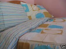 Kids Cotton Twin Size Cream&Blue Comforter Cover/Duvet Cover Sheet Set Geometric