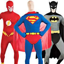 Superhero 2nd Skin Fancy Dress Batman Superman or Flash Bodysuit Men's Costume
