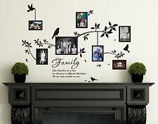 Familia Marcos foto con pájaros & frases Decoración Pared Vinilo Pegatinas,