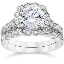 2.00Ct Diamond Vintage Halo Engagement Ring 14K White Gold Wedding Ring Set