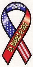 "4""-10"" USMC RETIRED military remembrance us marines Car Ribbon Magnet"