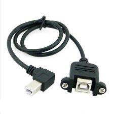 Ángulo USB 2.0 B Macho a Hembra Impresora De Panel De Tornillo Con Cable Extensor De Disco Duro