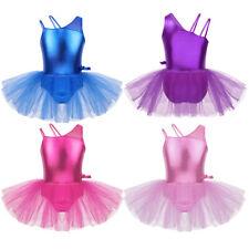 Mädchen Ballettkleid Glänzend Ballettanzug mit Tutu Rock Turnanzug Tanz Kleider
