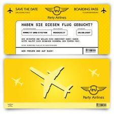 Save the Date Karten zur Hochzeit - Flugticket Motiv in Gelb