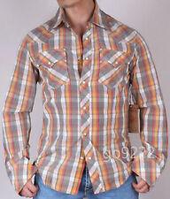 NWT-Authentic Men's True Religion L/S Plaid Rocky Western Slim Shirt Size S,M