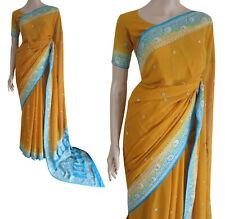 Partito Wear Bollywood GIALLO TURCHESE festa matrimonio saree vendita