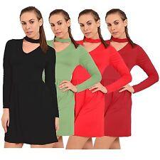 New Ladies Chocker Neck Flared Party Dress Swing Dresses 8-26