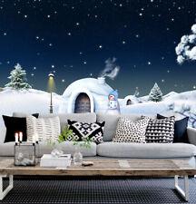 3D Netter Schneemann , Haus Fototapeten Wandbild Bild Tapete Familie Kinder
