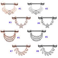 2 Pcs Surgical Steel Barbell Nipple Ring CZ Gem Body Nipple Piercing Ring