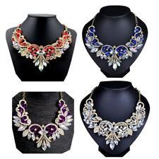 Fashion Rhinestone Crystal Chunky Statement Bib Pendant Chain Flower Necklace JS