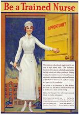 W21 Vintage WWI 'Be A Trained Nurse' World War Medical Poster WW1 A1 A2 A3