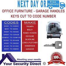 Keys Cut To Code Number- Office Furniture/Garage L&F 92001-92800 / M001-M400