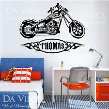 Motorcycle Chopper Bike Tribal Wall Custom Boy Name Vinyl Wall Decal Sticker