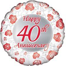 Feliz 40 ANIVERSARIO 45.7cm Globo metalizado de Helio Fiesta Boda Rubí Rosa Roja