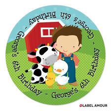 Personalised Birthday Thank You Farm Sticker Seals Labels Boy Girl | 031