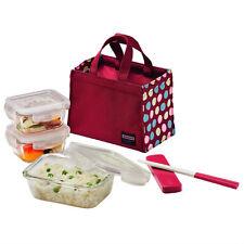Lock & Lock Heat Resisting Euro Lunch Box Set + Wine/Green Dot Pattern Bag