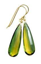 Tourmaline Sim  Earrings Bicolor Yellow Green Long Drops Sterling 14k Solid Gold