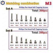 US stock 200pcs M3 Phillips Pan / Flat Head Self Tapping Screws Assortment 304SS