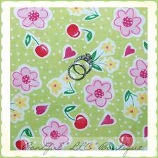BonEful Fabric FQ Cotton Quilt VTG Green Red Pink White CHERRY Flower Dot Fruit