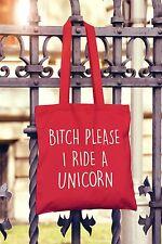 Bitch Please VADO un unicorno Canvas Tote BAG SHOPPER FUNNY FASHION BAG Hipster
