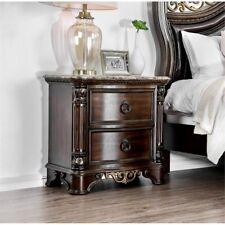 Furniture Of America Jordan Marble Top Nightstand In Brown Cherry