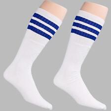 12 Pairs 1 Dozen Unisex Crew Retro Old School White Tube Socks Striped Blue